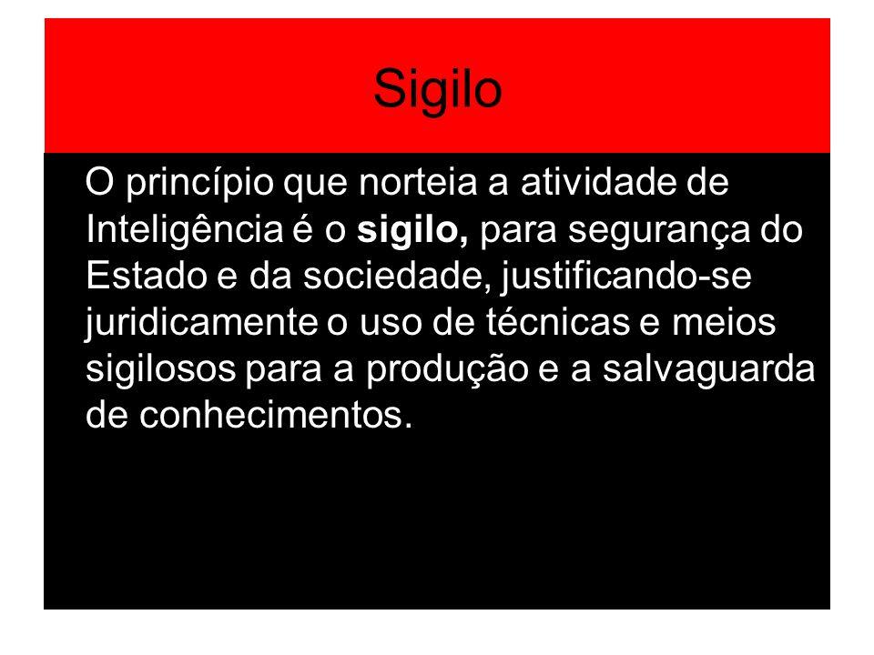 Sigilo O princípio que norteia a atividade de Inteligência é o sigilo, para segurança do Estado e da sociedade, justificando-se juridicamente o uso de