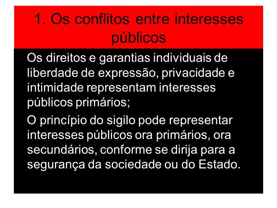 1. Os conflitos entre interesses públicos Os direitos e garantias individuais de liberdade de expressão, privacidade e intimidade representam interess