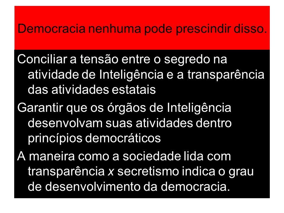 Democracia nenhuma pode prescindir disso. Conciliar a tensão entre o segredo na atividade de Inteligência e a transparência das atividades estatais Ga
