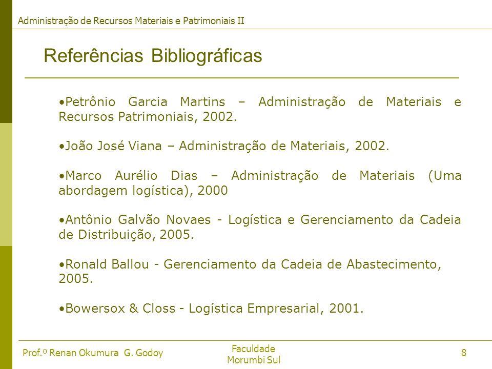 Faculdade Morumbi Sul Prof.º Renan Okumura G. Godoy Administração de Recursos Materiais e Patrimoniais II 8 Referências Bibliográficas Petrônio Garcia