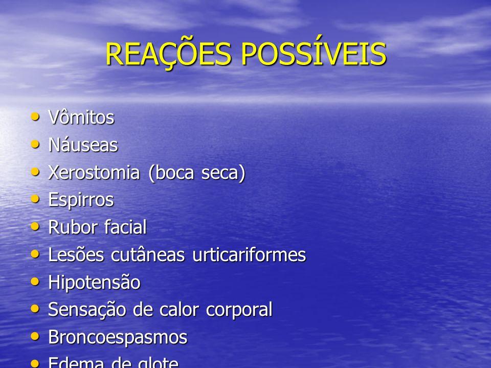 REAÇÕES POSSÍVEIS Vômitos Vômitos Náuseas Náuseas Xerostomia (boca seca) Xerostomia (boca seca) Espirros Espirros Rubor facial Rubor facial Lesões cut