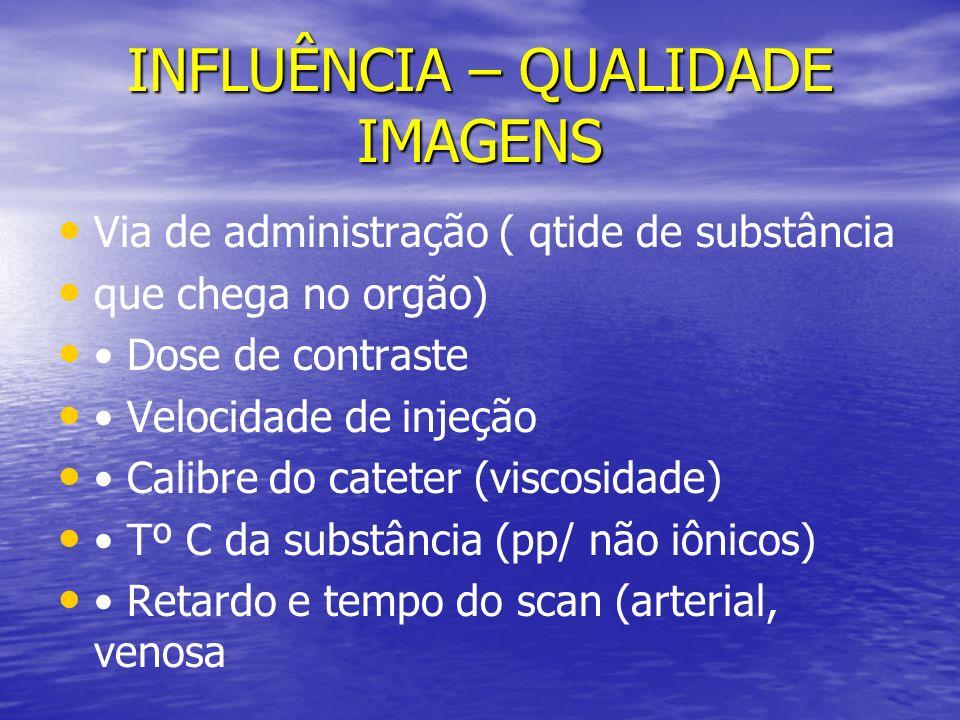 INFLUÊNCIA – QUALIDADE IMAGENS Via de administração ( qtide de substância que chega no orgão) Dose de contraste Velocidade de injeção Calibre do catet