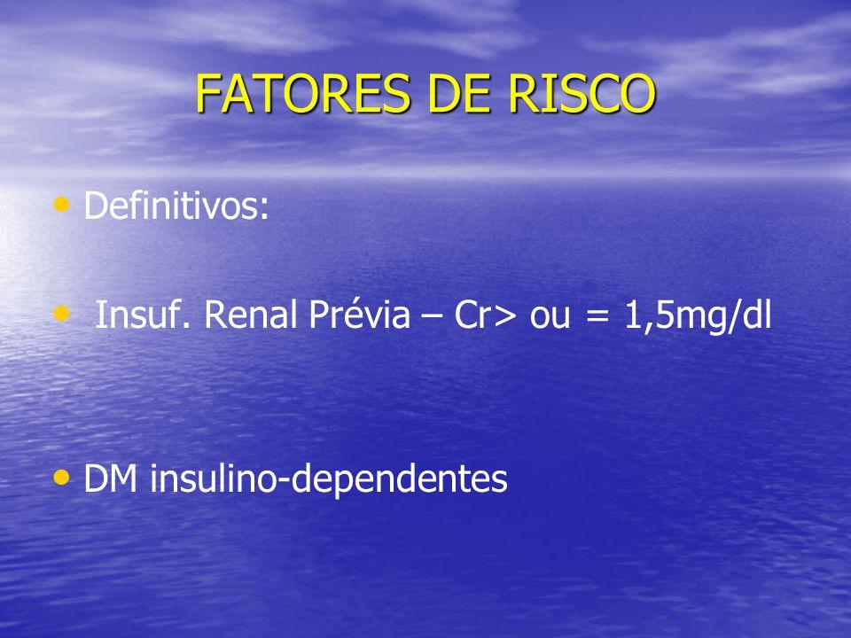 FATORES DE RISCO Definitivos: Insuf. Renal Prévia – Cr> ou = 1,5mg/dl DM insulino-dependentes