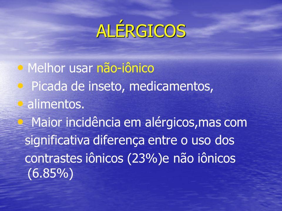 ALÉRGICOS Melhor usar não-iônico Picada de inseto, medicamentos, alimentos. Maior incidência em alérgicos,mas com significativa diferença entre o uso