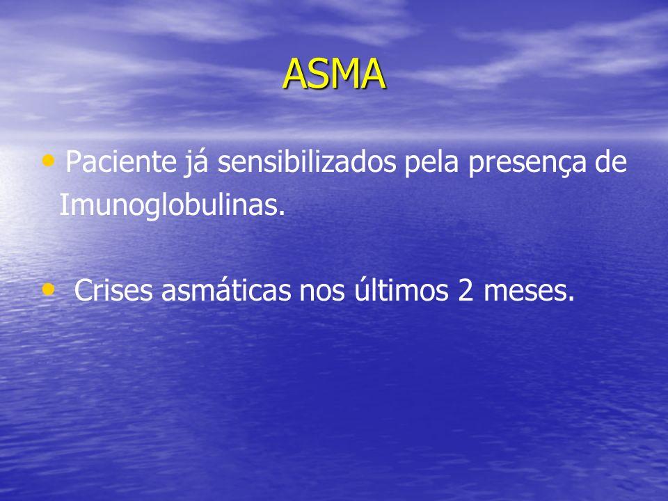 ASMA Paciente já sensibilizados pela presença de Imunoglobulinas. Crises asmáticas nos últimos 2 meses.