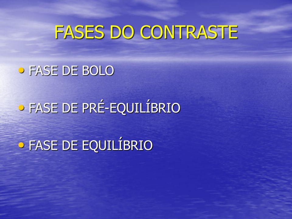 FASES DO CONTRASTE FASE DE BOLO FASE DE BOLO FASE DE PRÉ-EQUILÍBRIO FASE DE PRÉ-EQUILÍBRIO FASE DE EQUILÍBRIO FASE DE EQUILÍBRIO