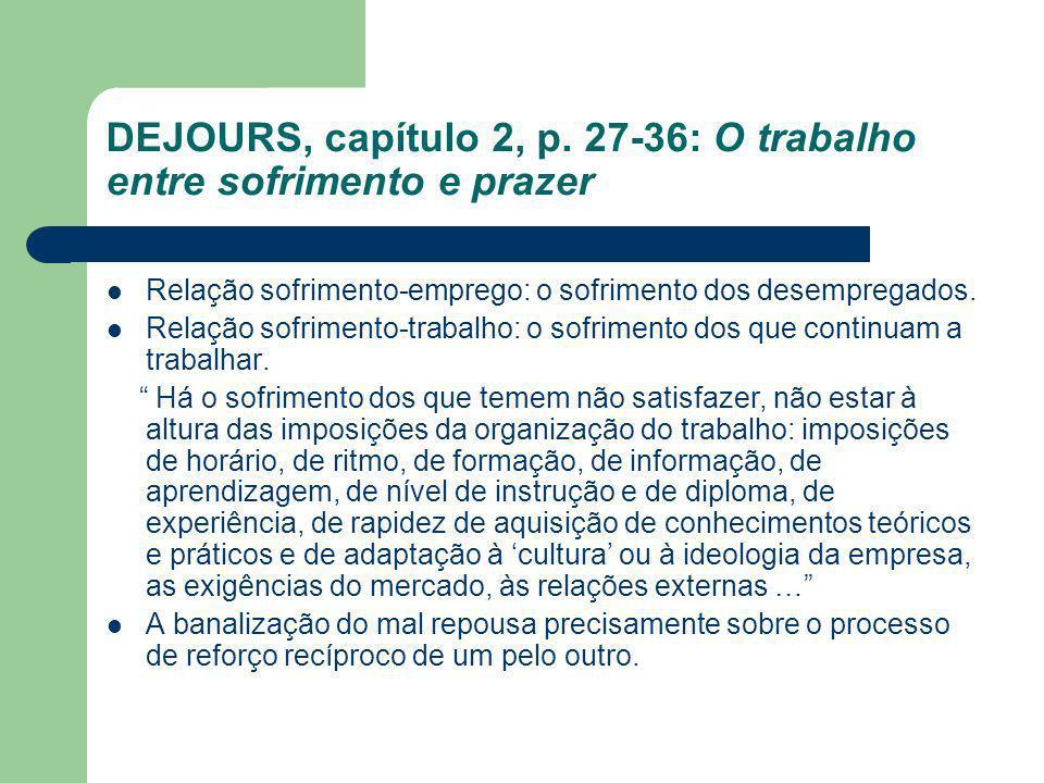 DEJOURS, capítulo 2, p. 27-36: O trabalho entre sofrimento e prazer Relação sofrimento-emprego: o sofrimento dos desempregados. Relação sofrimento-tra