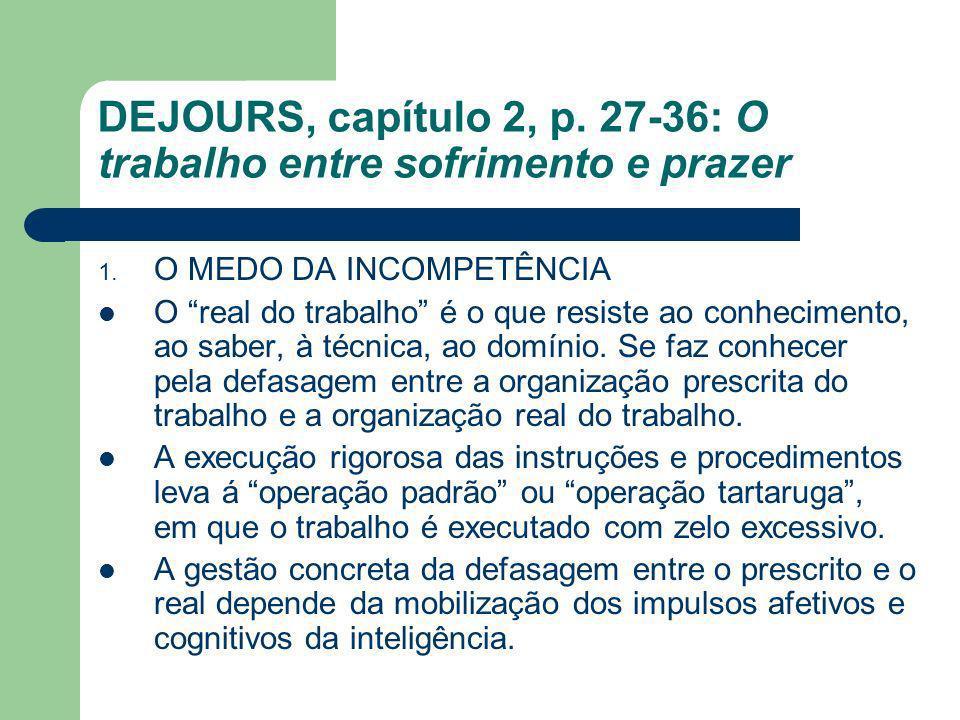 DEJOURS, capítulo 2, p. 27-36: O trabalho entre sofrimento e prazer 1. O MEDO DA INCOMPETÊNCIA O real do trabalho é o que resiste ao conhecimento, ao