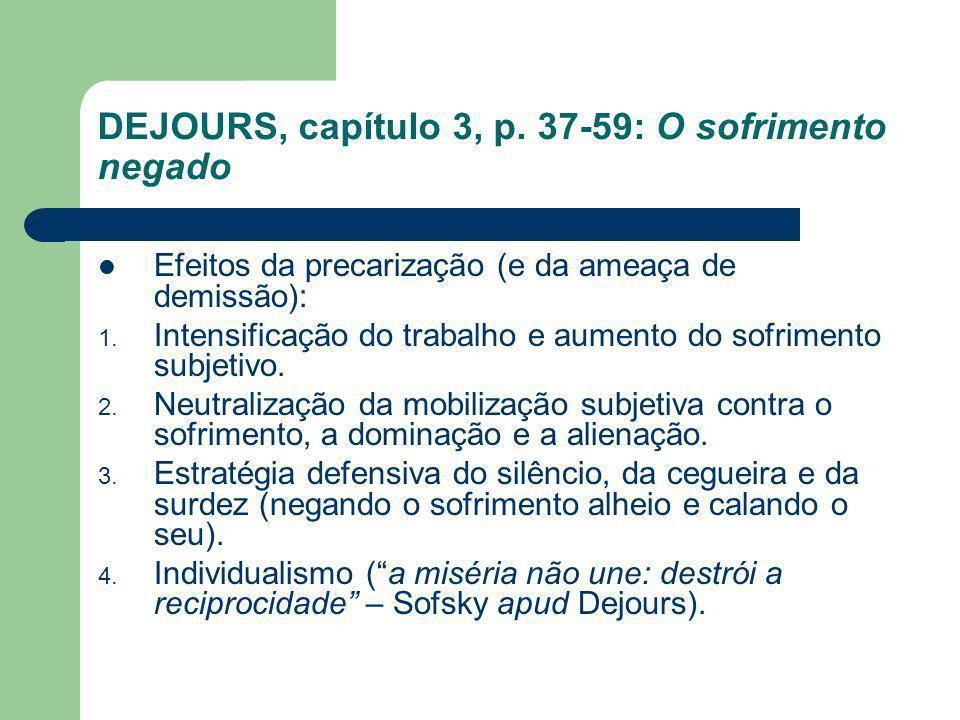 DEJOURS, capítulo 3, p. 37-59: O sofrimento negado Efeitos da precarização (e da ameaça de demissão): 1. Intensificação do trabalho e aumento do sofri