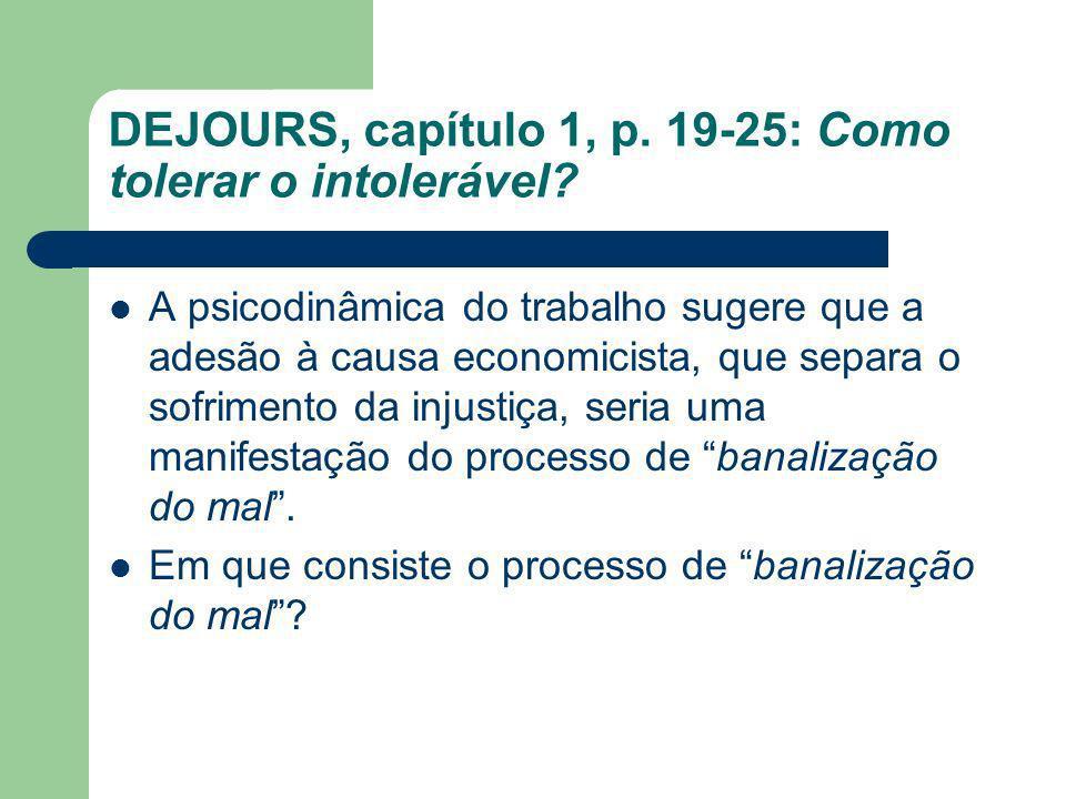DEJOURS, capítulo 1, p. 19-25: Como tolerar o intolerável? A psicodinâmica do trabalho sugere que a adesão à causa economicista, que separa o sofrimen