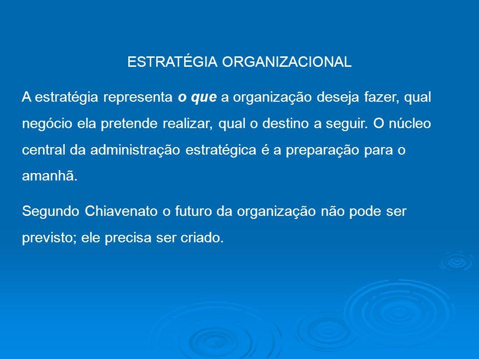 ESTRATÉGIA ORGANIZACIONAL A estratégia representa o que a organização deseja fazer, qual negócio ela pretende realizar, qual o destino a seguir. O núc