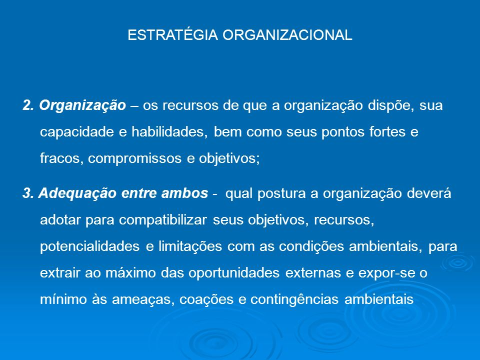 ESTRATÉGIA ORGANIZACIONAL 2. Organização – os recursos de que a organização dispõe, sua capacidade e habilidades, bem como seus pontos fortes e fracos