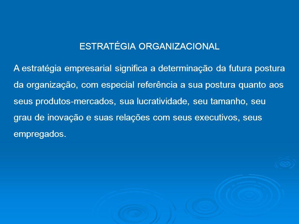 ESTRATÉGIA ORGANIZACIONAL A estratégia empresarial significa a determinação da futura postura da organização, com especial referência a sua postura qu