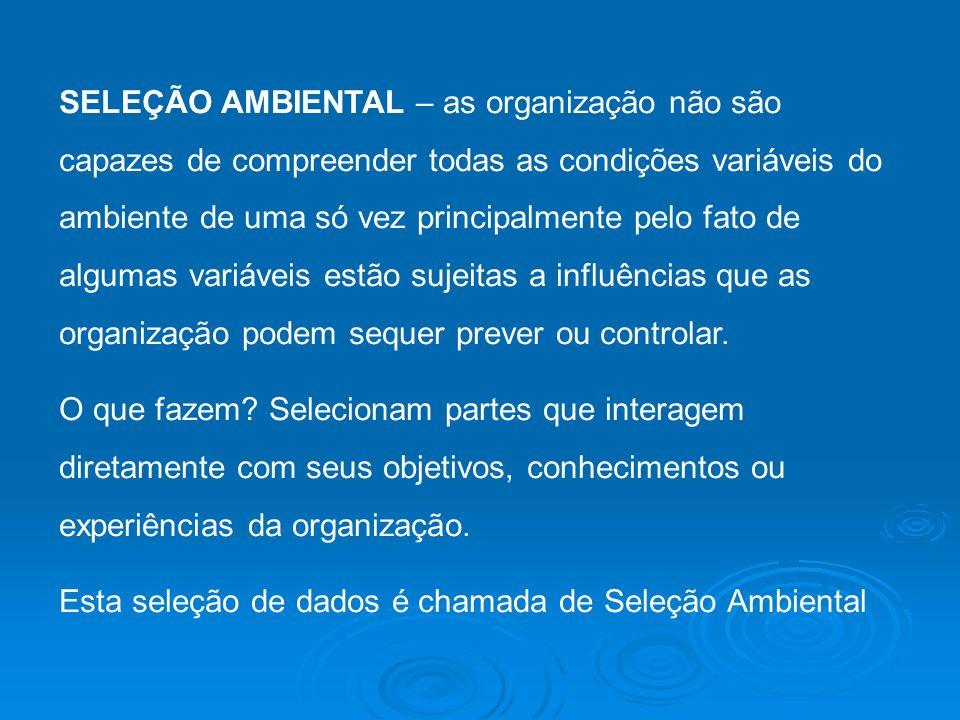 SELEÇÃO AMBIENTAL – as organização não são capazes de compreender todas as condições variáveis do ambiente de uma só vez principalmente pelo fato de a