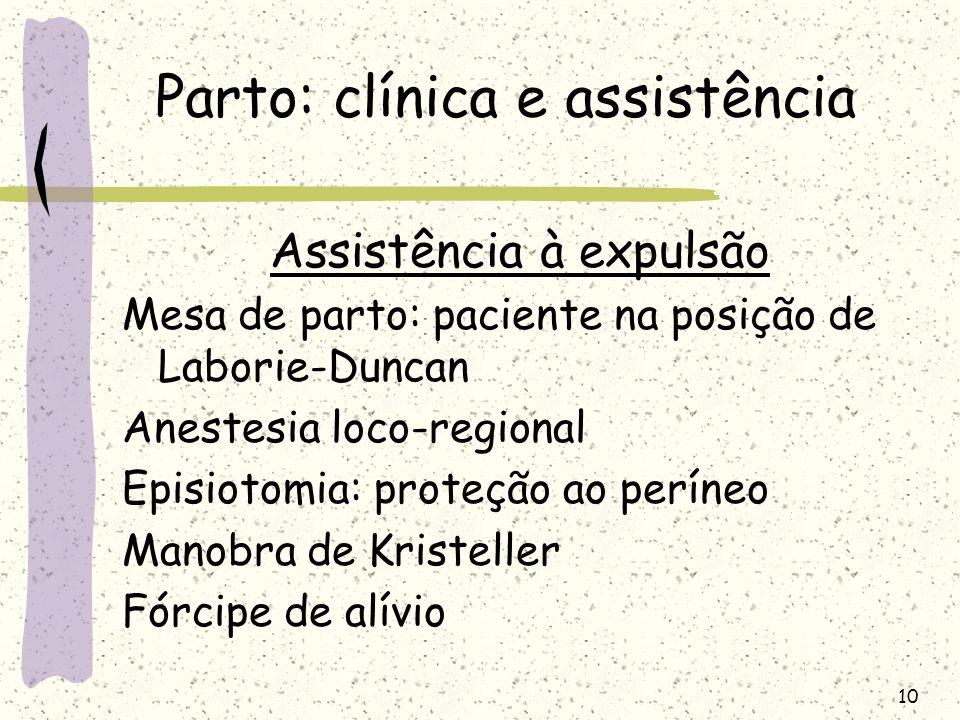 10 Parto: clínica e assistência Assistência à expulsão Mesa de parto: paciente na posição de Laborie-Duncan Anestesia loco-regional Episiotomia: prote