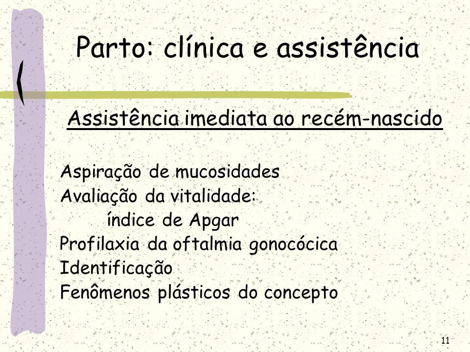 11 Parto: clínica e assistência Assistência imediata ao recém-nascido Aspiração de mucosidades Avaliação da vitalidade: índice de Apgar Profilaxia da