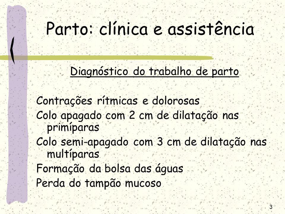 3 Parto: clínica e assistência Diagnóstico do trabalho de parto Contrações rítmicas e dolorosas Colo apagado com 2 cm de dilatação nas primíparas Colo