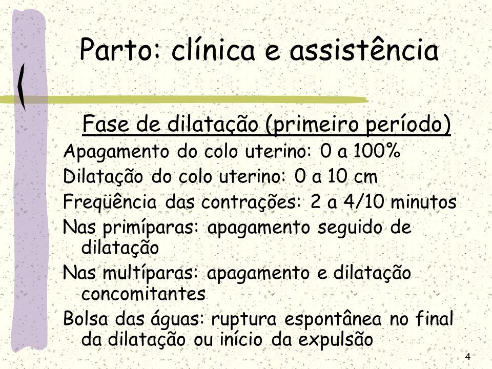 4 Parto: clínica e assistência Fase de dilatação (primeiro período) Apagamento do colo uterino: 0 a 100% Dilatação do colo uterino: 0 a 10 cm Freqüênc