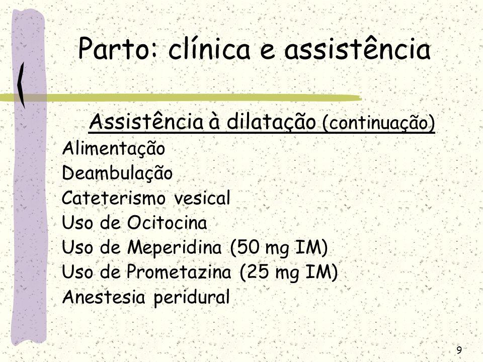 9 Parto: clínica e assistência Assistência à dilatação (continuação) Alimentação Deambulação Cateterismo vesical Uso de Ocitocina Uso de Meperidina (5