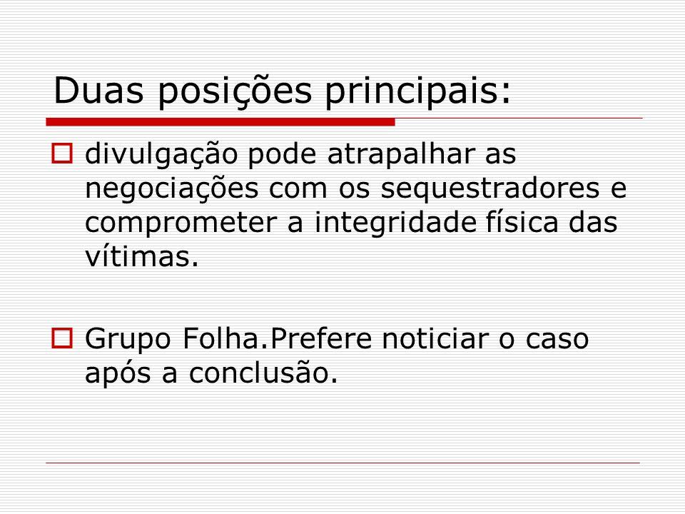 Duas posições principais: divulgação pode atrapalhar as negociações com os sequestradores e comprometer a integridade física das vítimas. Grupo Folha.