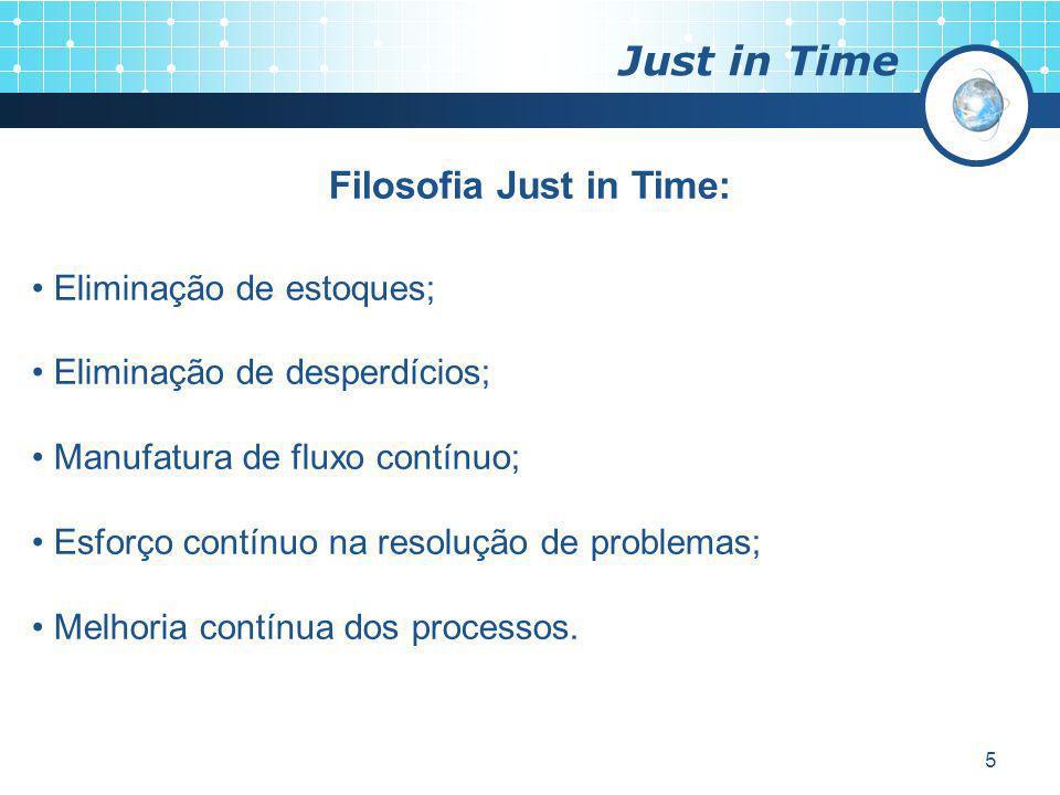 5 Just in Time Filosofia Just in Time: Eliminação de estoques; Eliminação de desperdícios; Manufatura de fluxo contínuo; Esforço contínuo na resolução
