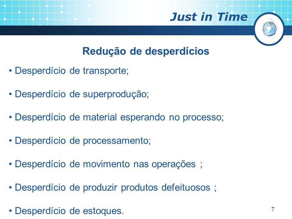 7 Just in Time Redução de desperdícios Desperdício de transporte; Desperdício de superprodução; Desperdício de material esperando no processo; Desperd