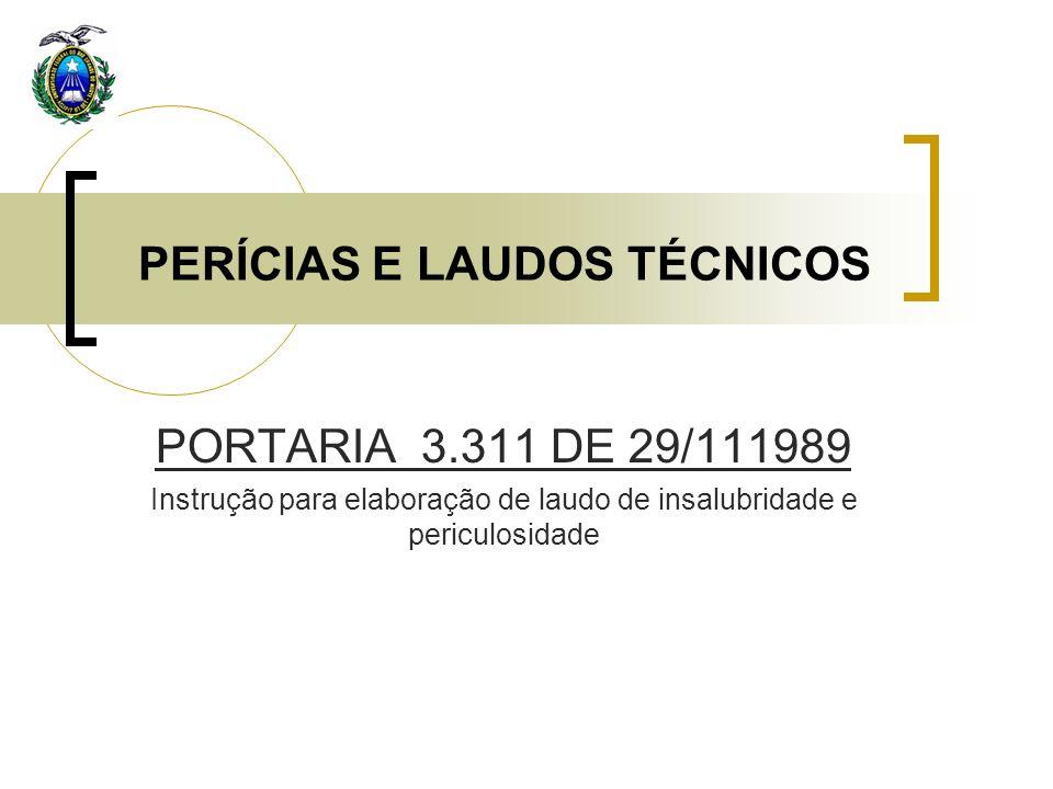 PERÍCIAS E LAUDOS TÉCNICOS PORTARIA 3.311 DE 29/111989 Instrução para elaboração de laudo de insalubridade e periculosidade