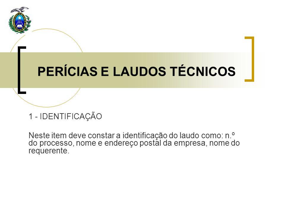 PERÍCIAS E LAUDOS TÉCNICOS 1 - IDENTIFICAÇÃO Neste item deve constar a identificação do laudo como: n.º do processo, nome e endereço postal da empresa