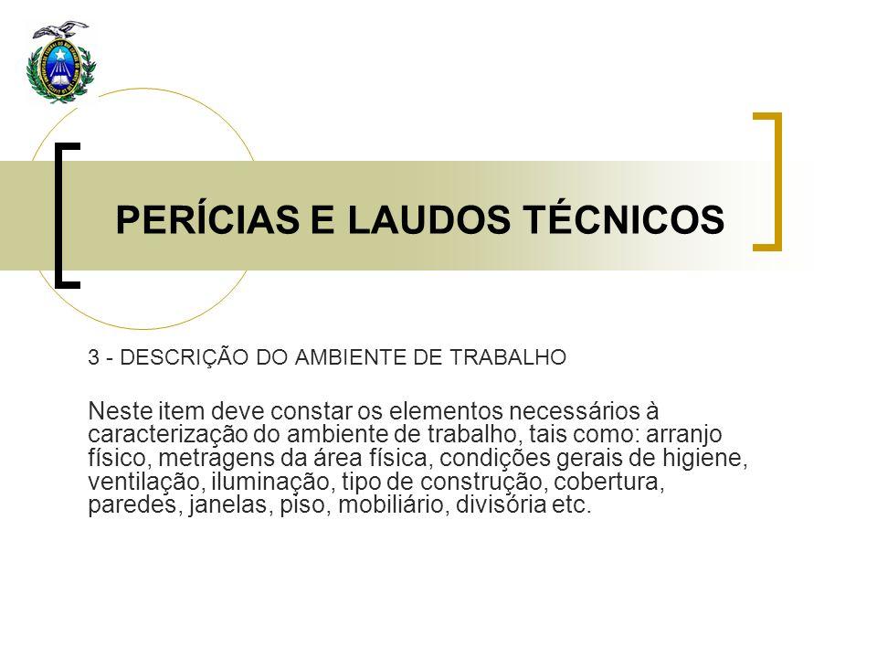 PERÍCIAS E LAUDOS TÉCNICOS 3 - DESCRIÇÃO DO AMBIENTE DE TRABALHO Neste item deve constar os elementos necessários à caracterização do ambiente de trab