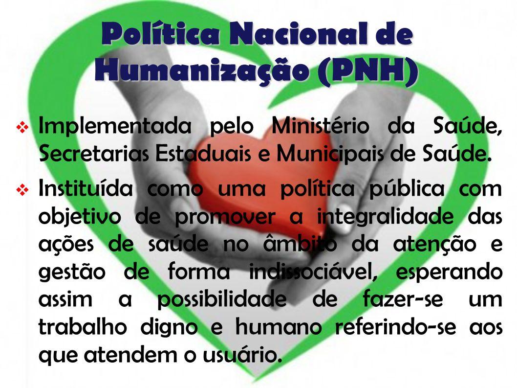 Política Nacional de Humanização (PNH) Implementada pelo Ministério da Saúde, Secretarias Estaduais e Municipais de Saúde. Instituída como uma polític