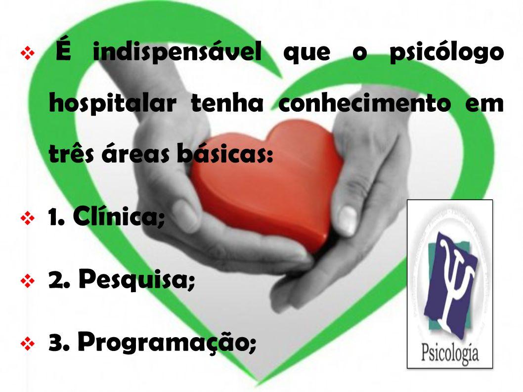 É indispensável que o psicólogo hospitalar tenha conhecimento em três áreas básicas: 1. Clínica; 2. Pesquisa; 3. Programação;