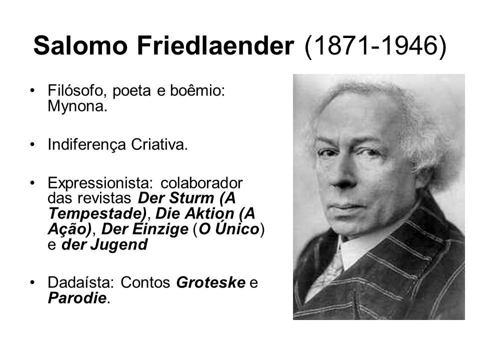 Salomo Friedlaender (1871-1946) Filósofo, poeta e boêmio: Mynona. Indiferença Criativa. Expressionista: colaborador das revistas Der Sturm (A Tempesta
