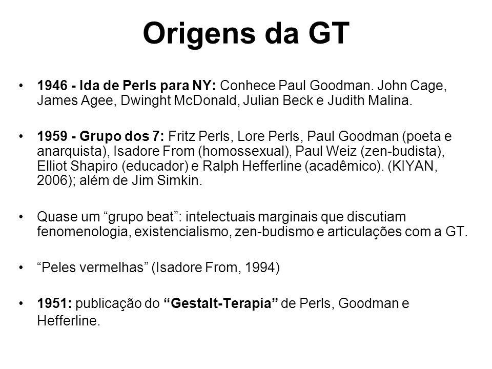 Origens da GT 1946 - Ida de Perls para NY: Conhece Paul Goodman. John Cage, James Agee, Dwinght McDonald, Julian Beck e Judith Malina. 1959 - Grupo do