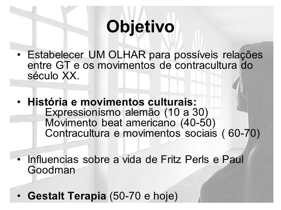 Objetivo Estabelecer UM OLHAR para possíveis relações entre GT e os movimentos de contracultura do século XX. História e movimentos culturais: Express