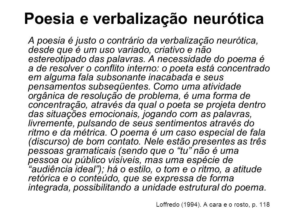 Poesia e verbalização neurótica A poesia é justo o contrário da verbalização neurótica, desde que é um uso variado, criativo e não estereotipado das p
