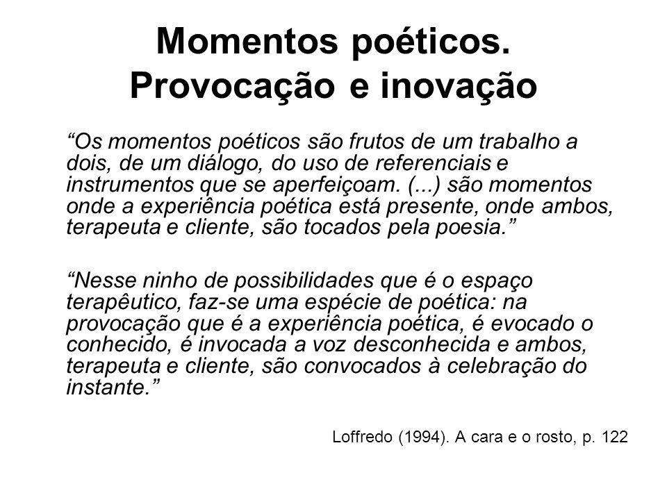 Momentos poéticos. Provocação e inovação Os momentos poéticos são frutos de um trabalho a dois, de um diálogo, do uso de referenciais e instrumentos q