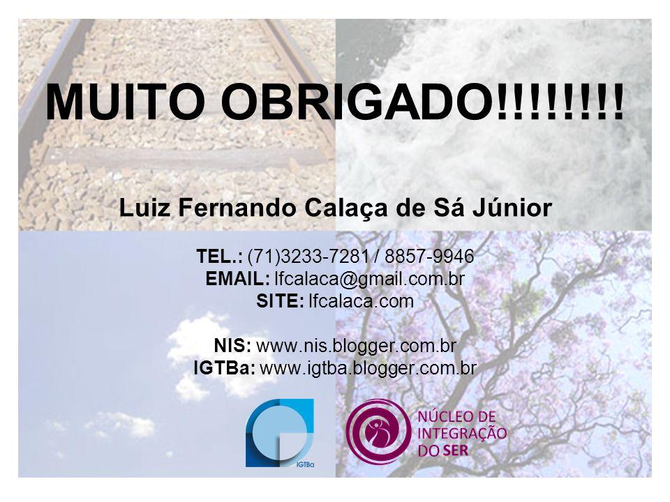 MUITO OBRIGADO!!!!!!!! Luiz Fernando Calaça de Sá Júnior TEL.: (71)3233-7281 / 8857-9946 EMAIL: lfcalaca@gmail.com.br SITE: lfcalaca.com NIS: www.nis.