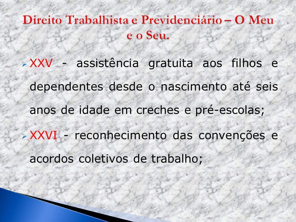 XXV - assistência gratuita aos filhos e dependentes desde o nascimento até seis anos de idade em creches e pré-escolas; XXVI - reconhecimento das conv