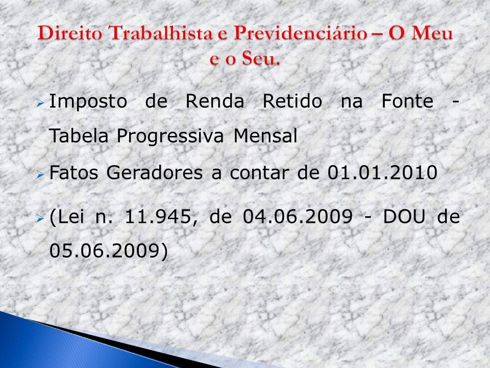 Imposto de Renda Retido na Fonte - Tabela Progressiva Mensal Fatos Geradores a contar de 01.01.2010 (Lei n. 11.945, de 04.06.2009 - DOU de 05.06.2009)