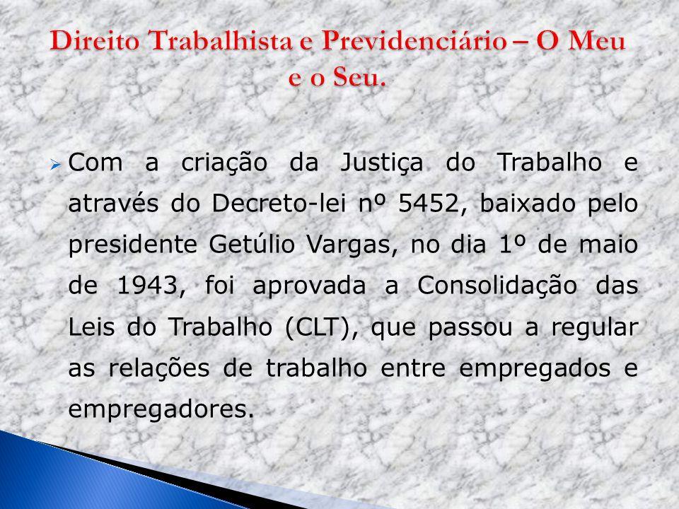 Com a criação da Justiça do Trabalho e através do Decreto-lei nº 5452, baixado pelo presidente Getúlio Vargas, no dia 1º de maio de 1943, foi aprovada