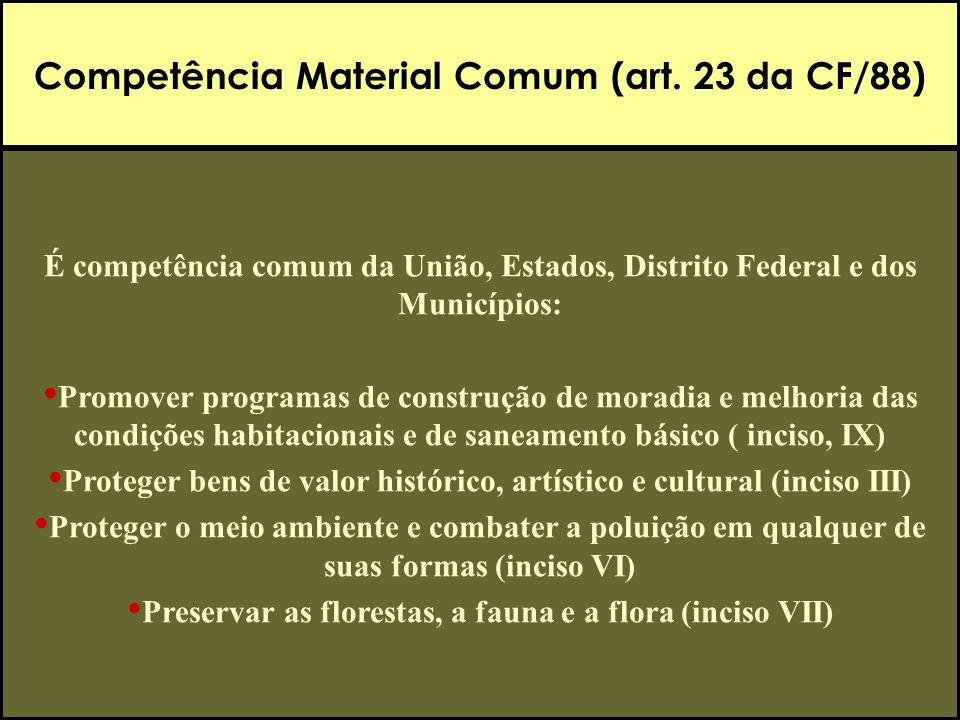 Competência Material Comum (art. 23 da CF/88) É competência comum da União, Estados, Distrito Federal e dos Municípios: Promover programas de construç