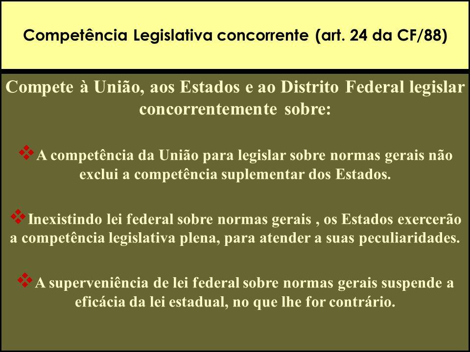 Competência Legislativa concorrente (art. 24 da CF/88) Compete à União, aos Estados e ao Distrito Federal legislar concorrentemente sobre: A competênc