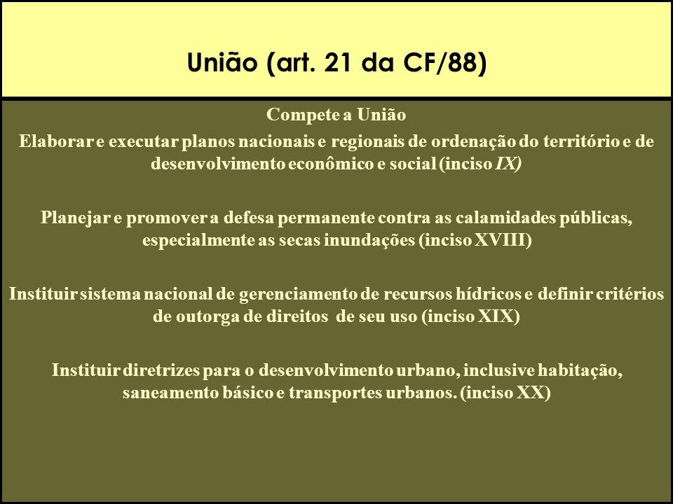 União (art. 21 da CF/88) Compete a União Elaborar e executar planos nacionais e regionais de ordenação do território e de desenvolvimento econômico e