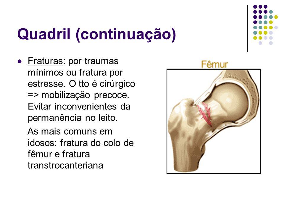 Quadril (continuação) Fraturas: por traumas mínimos ou fratura por estresse. O tto é cirúrgico => mobilização precoce. Evitar inconvenientes da perman