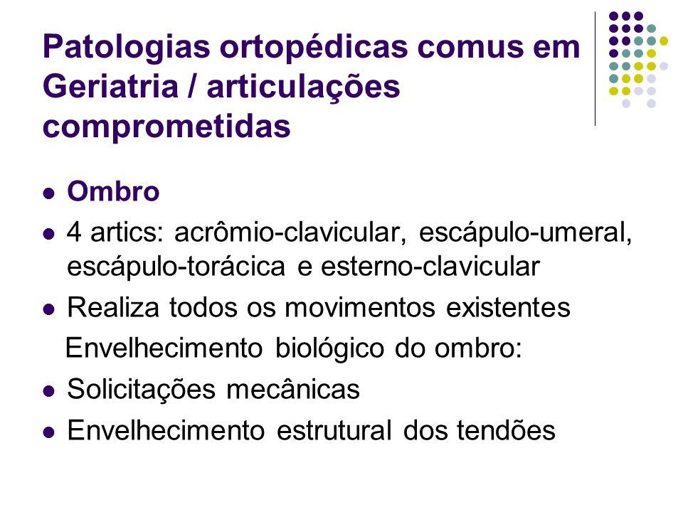 Patologias ortopédicas comus em Geriatria / articulações comprometidas Ombro 4 artics: acrômio-clavicular, escápulo-umeral, escápulo-torácica e estern