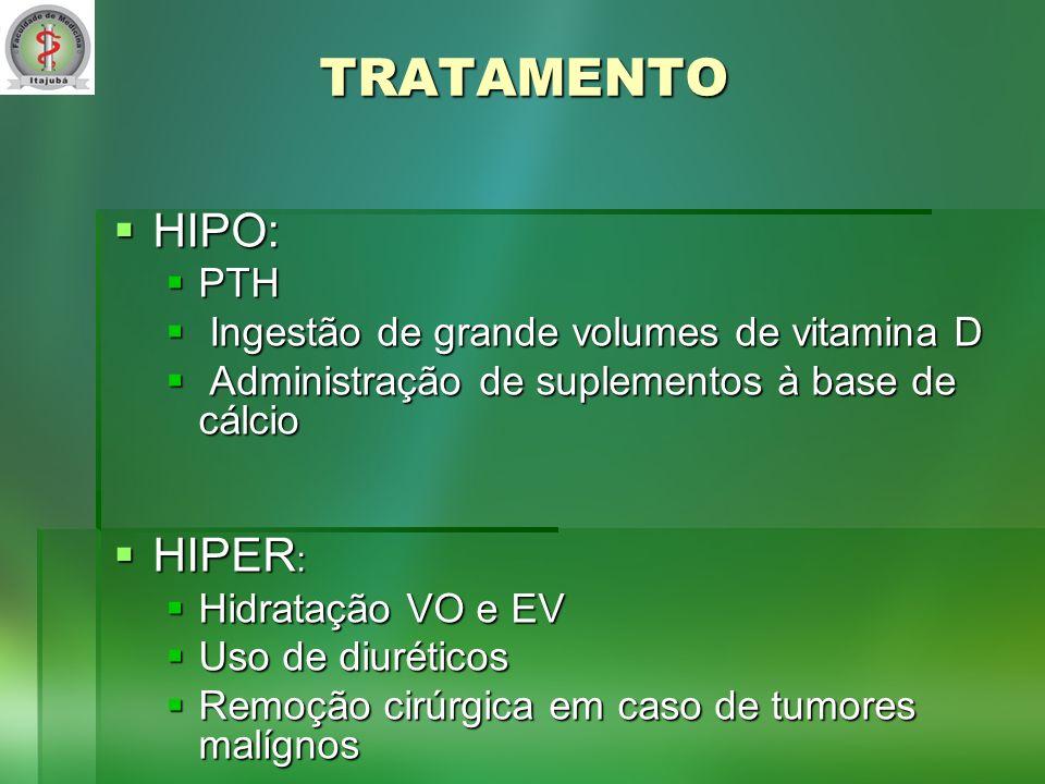 TRATAMENTO HIPO: HIPO: PTH PTH Ingestão de grande volumes de vitamina D Ingestão de grande volumes de vitamina D Administração de suplementos à base de cálcio Administração de suplementos à base de cálcio HIPER : HIPER : Hidratação VO e EV Hidratação VO e EV Uso de diuréticos Uso de diuréticos Remoção cirúrgica em caso de tumores malígnos Remoção cirúrgica em caso de tumores malígnos