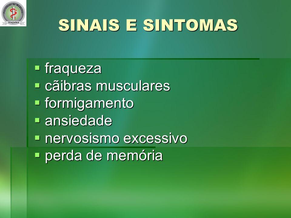 SINAIS E SINTOMAS fraqueza fraqueza cãibras musculares cãibras musculares formigamento formigamento ansiedade ansiedade nervosismo excessivo nervosismo excessivo perda de memória perda de memória