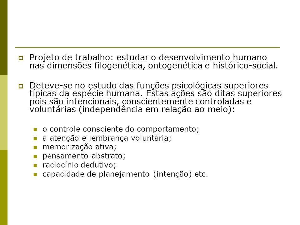 Projeto de trabalho: estudar o desenvolvimento humano nas dimensões filogenética, ontogenética e histórico-social. Deteve-se no estudo das funções psi