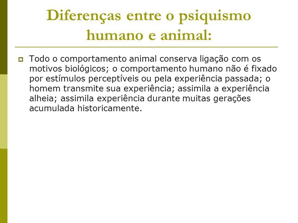 Diferenças entre o psiquismo humano e animal: Todo o comportamento animal conserva ligação com os motivos biológicos; o comportamento humano não é fix