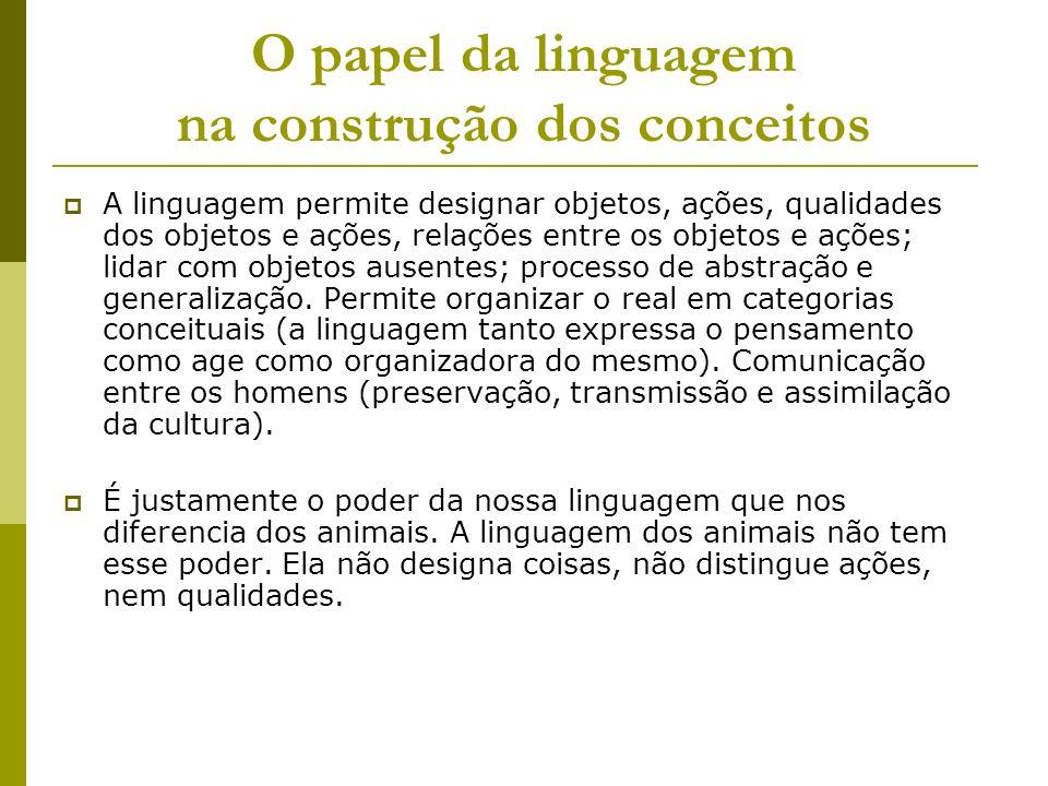 O papel da linguagem na construção dos conceitos A linguagem permite designar objetos, ações, qualidades dos objetos e ações, relações entre os objeto